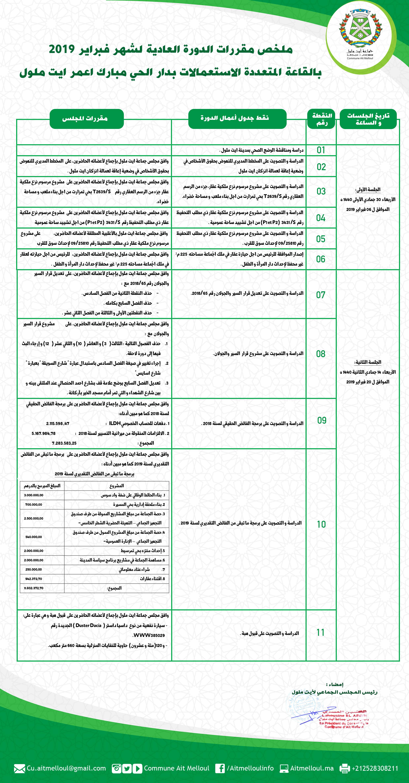 ملخص مقررات المجلس الجماعي لأيت ملول - الدورة العادية لشهر فبراير 2019