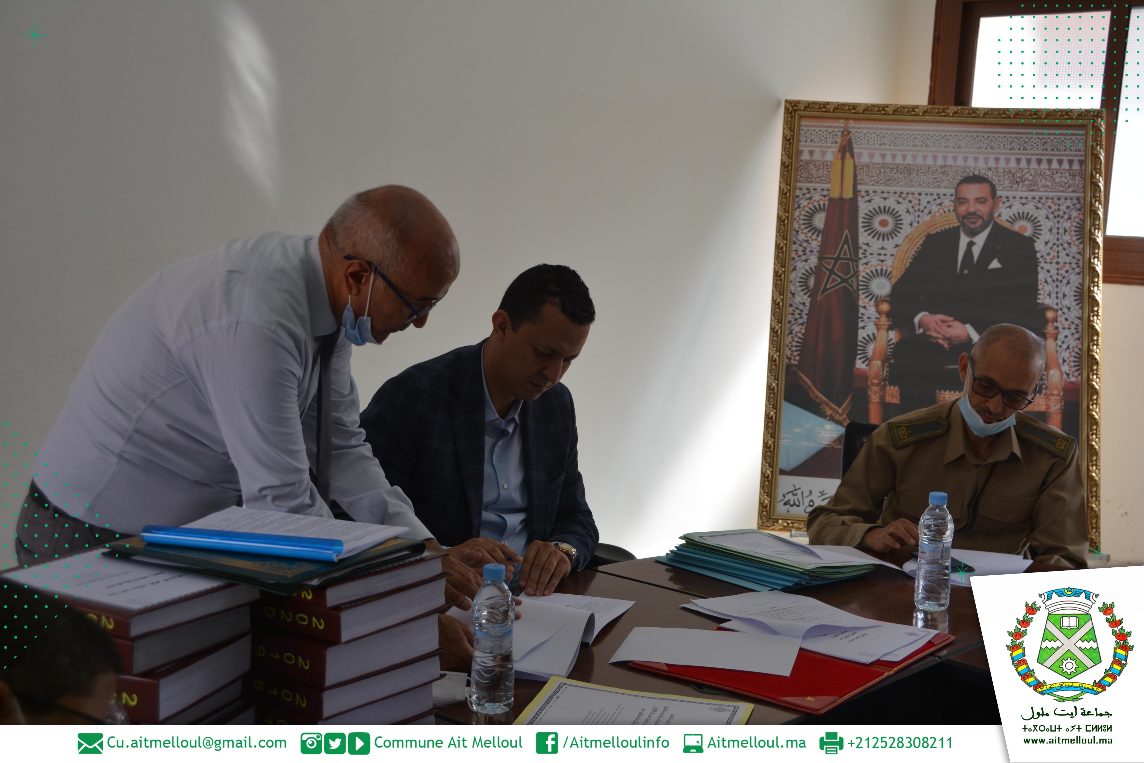 تسليم السلط بين الرئيس القديم والحالي لجماعة أيت ملول على اثر إقتراع 08 شتنبر 2021